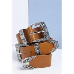 Boohoo Erin Double Buckle Western Belt (€18) ❤ liked on Polyvore featuring accessories, belts, tan, thin belt, cowgirl belts, western belts, skinny braided belt and adjustable belt