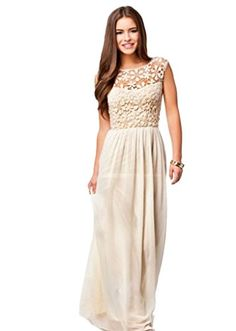 IMQueen Floor Length Chiffon Plus Size Prom Club Wear Lace Dresses for Women ** More info could be found at the image url.