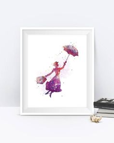 Mary Poppins Art Print Mary Poppins Watercolor Disney by MONNPRINT #disney #marypoppins #artprint #watercolor #giftideas