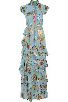 Lessie ruffled printed chiffon maxi dress by Alice + Olivia