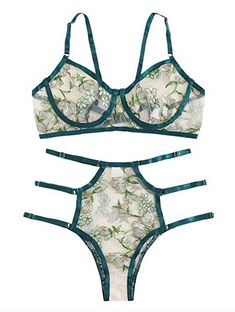 MakeMeChic Women Sexy Floral Embroidered Sheer Mesh Bralettes Bra and Panty Lingerie Set Green Lingerie, Lingerie Set, Romwe, Affordable Lingerie, Sheer Tights, Lounge Wear, Sexy Women, Bodysuit, Bralettes