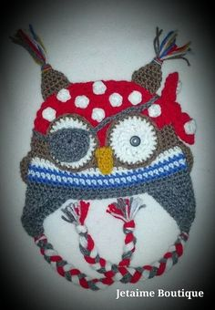 Crochet Owl Pirate Hat by jetaimeboutique83406 on Etsy