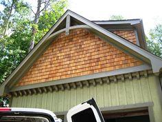 Gable Bracket and Wooden Corbels Cedar Shingle Siding, Cedar Shingles, House Siding, Craftsman Exterior, Exterior Siding, Exterior Design, Corbels Exterior, Craftsman Porch, Siding Repair