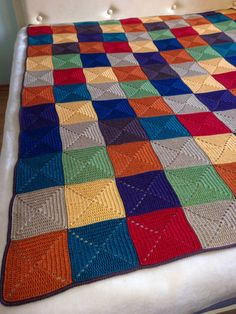Best 10 my very own colourful Granny Square Blanket! Granny Square Blanket, Granny Square Crochet Pattern, Crochet Squares, Crochet Blanket Patterns, Baby Blanket Crochet, Loom Crochet, Crochet Stitches, Knitting Charts, Knitting Patterns