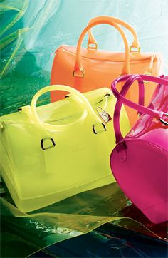 Furla 'Candy' Rubber Satchel. Neon meets jelly shoes. The '90's are back! Available at #Nordstrom