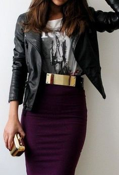Leather jacket, graphic t-shirt, a black belt with a gold buckle, and a plum pencil skirt.