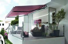 kasettenmarkise sonnenschutz balkon manuell elektrisch glas geländer