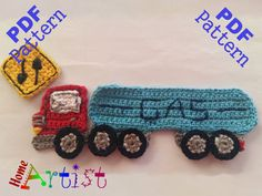 Gas Truck crochet applique pattern  This is an -INSTANT DOWNLOAD- pattern of a…