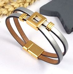 Kit tutoriel bracelet cuir argent avec perles et fermoir flashé or : Kits, tutoriels bijoux par bijoux-giuliana