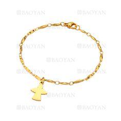 pulsera con angel de dorado en acero para mujer-SSBTG1094331