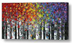 Abstract Art Birch Trees Giclee PRINT Large Wall door ModernHouseArt