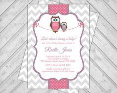 Girls Owl Baby Shower Invitations Chevron