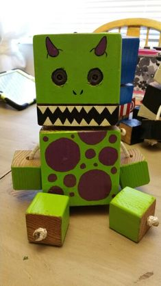 Monster - wood toy, natural wood, wood robot, DIY toy #woodtoy