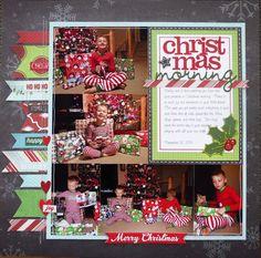 Christmas Morning - Left Side - Scrapbook.com (recreate using traditional supplies)