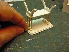Dollhouse Miniature Furniture - Tutorials | 1 inch minis: 1 INCH SCALE END TABLE TUTORIAL - How to make a 1 inch scale end table from mat board and tooth picks.