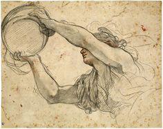 Pietro da Cortona (Pietro Berrettini; 1596–1669) Woman Holding the Papal Tiara, 1632–39 Black and red chalk