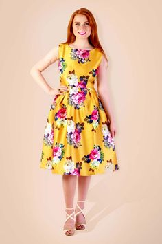 Blossoming Yellow Floral Printed Polyester Dress @Looksgud.in #Yellow…