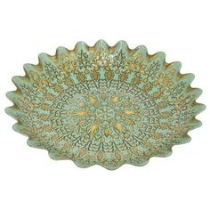 "Benzara 16"" Green Glass Votive Bowl"