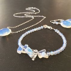 Another custom order, ready to go!  Faceted opalite and sterling silver.
