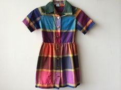Vintage Colorblock Girls Dress by Baxtervintage on Etsy, $32.00