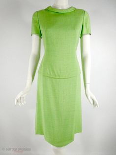 60s Adele Simpson Lime Green Shift