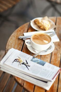 Coffee and newspaper. #morning #latte #romantic