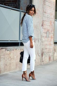 Sincerely Jules street style: white jeans and a button-down