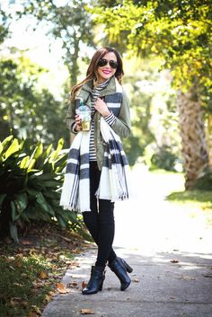 Skinny jeans, striped turtleneck, utility jacket, blanket scarf