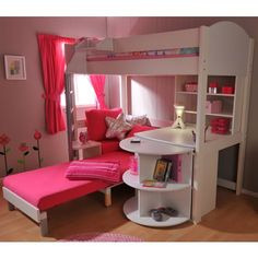 unusual staggered bunk beds with storage drawers, wardrobe and
