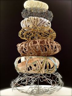 """Cairn I"" janilaine mainprize mixed media, (glass dome not shown) Art@41"