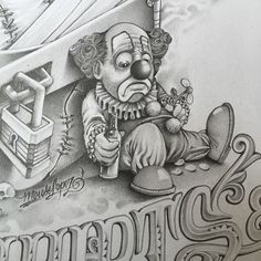 #Repost @mouse_lopez with @grabapp The devil is in the detail.. #clown #payaso #mouselopez #sad #tattooidea #tattoowishlist