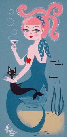 El gato gomez painting retro 50s kitsch mermaid cat martini cocktail pinup girl