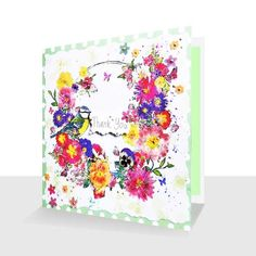 Thank You Card:Spring Flowers Blue tit :Bird Lovers, Greetings Cards Online Thank You Greetings, Thank You Cards, Blue Tit, Primroses, Unique Cards, Pansies, Spring Flowers, Greeting Cards, Bird