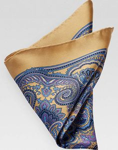 Joseph Abboud Yellow & Blue Circle Medallion Pocket Square Style #80D580061:  [29]