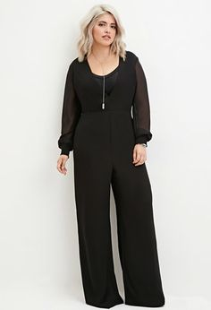 Plus Size V-Neck Chiffon Jumpsuit   Forever 21 PLUS - 2000146545