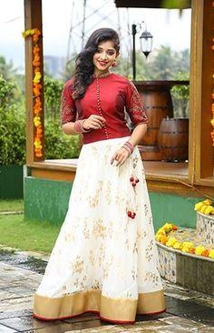 Whatsapp on 9496803123 to customise Long Skirt Top Designs, Long Skirt And Top, Long Dress Design, Stylish Dress Designs, Stylish Dresses, Traditional Blouse Designs, Traditional Skirts, Kerala Saree Blouse Designs, Lehenga Designs
