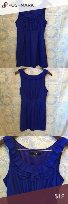 "XXI Royal Blue Sleeveless A-Line Dress Beautiful color! 100% polyester shell and lining.  Hidden side zipper with clasp.  Ruffles around neck line and straps.  1 3/4"" inch waist band makes this dress super flattering on all body types. Measurements: Shoulder to hem: 34"", waist hits at 14.25"" from shoulder and is 30"", bust: 36"", hips 42"" XXI Dresses"