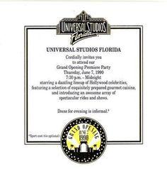UNIVERSAL STUDIOS THEME PARK FLORIDA - GRAND OPENING INVITATION (04/01/2013)