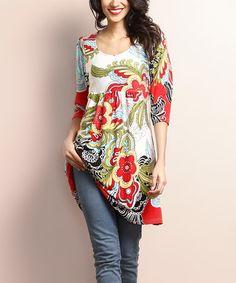 Look what I found on #zulily! White & Red Floral Empire-Waist Tunic Dress #zulilyfinds
