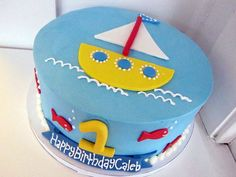 Jax's 1st Birthday Cake!! Round ocean and sailing theme birthday cake for one-year-old.JPG