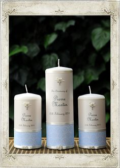 Christening - French Blue Set of 3 Candles - Personalised Candles Sydney Boy Baptism Centerpieces, Christening Decorations, Baptism Candle, Shower Centerpieces, First Communion Party, Baptism Party, Baby Boy Baptism, Girl Christening, Baptismal Giveaways
