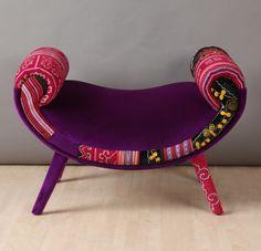 Smiley patchwork pouf purple love por namedesignstudio en Etsy