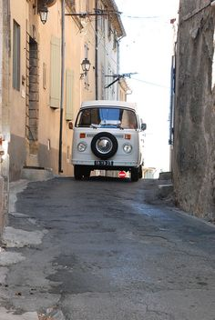 VW Camper Van T 2 street in France + #vw