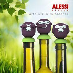 """""""Banana Boys"""" Un divertido trío de changuitos para tapar las botellas. Diseñado por Stefano Giovannoni Alessi, Creativity, Hilarious, Bottles, Art"""