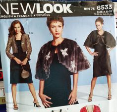 2005 New Look Pattern Evening by PaperWardrobesEtc New Look Patterns, Coat Patterns, Cropped Jackets, Vintage Sewing Patterns, Capes, Blazers, Fur Coat, Trending Outfits, Etsy