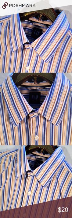 """Gap Tan Blue Striped Long Sleeve Med Dress Shirt Thank You for choosing  Kross Threads! Condition: Excellent Pre-Owned Condition. No noticeable imperfections.  While we strive for perfection, If any flaws are found please contact us for a solution. Label: Gap Material: 100% Cotton Color: Tan Blue Striped Size: Medium Country: Sri lanka Measurements Pit to Pit (Across Chest): 22"""" Sleeves (Top of Shoulder to Cuff): 24.5"""" Length   (Top of Collar to Hem): 31"""" Our mission is to provide unique…"""