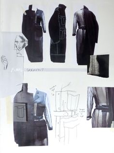 Fashion Sketchbook page - jacket design development, fashion design sketches; fashion collage; fashion portfolio // Connie Blackaller