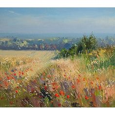 "Poppies and Barley, Thornham Coast, Norfolk' 14"" x 16"" oil on canvas original by Rex Preston Gallerytop, Rowsley"