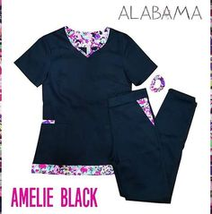 Lunes de novedades, AMBO NUEVO!!! Nuestro nuevo integrante,AMELIE BLACK 😍 Es tan pero tan lindo que hasta dan ganas de arrancar la semana para usarlo!! 🙌 #ambosdediseño #ambosalabama #ambonuevo Cute Nursing Scrubs, Cute Scrubs, Nursing Clothes, Spa Uniform, Scrubs Uniform, Disney Scrubs, The Awkward Yeti, Scrubs Outfit, Nurse Costume