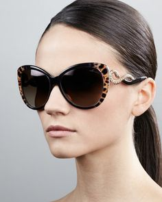 Serpent-Temple+Oversized+Cat-Eye+Sunglasses%2C+Leopard+by+Roberto+Cavalli+at+Bergdorf+Goodman.